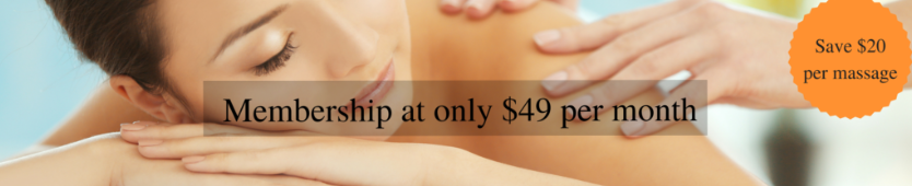 Membership at only $49 per month -- Save $20 per massage!